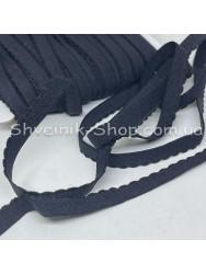 Резина зубчик мелкий ширина 1 см цвет : черный в упаковке 46 метров