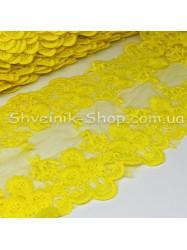 Кружево на сетке Ширина 12.5 cm  Цвет : желтый в упаковке 13.8 метров цена за упаковку
