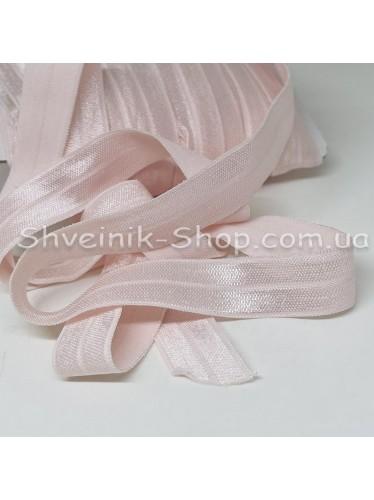 Бейка стрейч ширина 1.5 см цвет: бледно розовый  в упаковке 46 метров