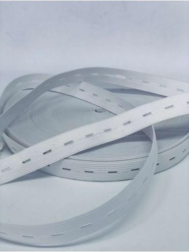 Резина в Дырку под пуговицу(Детская) размер 2 см в упаковке 30 метров цвет Белый