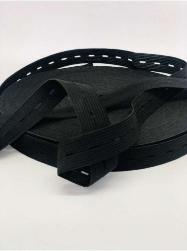 Резина в Дырку под пуговицу(Детская) размер 2 см в упаковке 30 метров цвет Черный